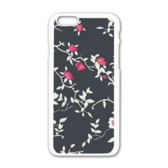 Black And White Floral Pattern Background Apple Iphone 6/6s White Enamel Case by Samandel