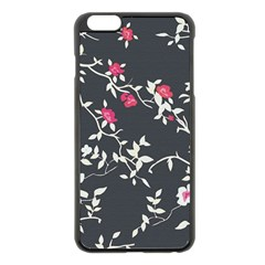 Black And White Floral Pattern Background Apple Iphone 6 Plus/6s Plus Black Enamel Case