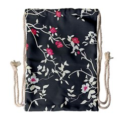 Black And White Floral Pattern Background Drawstring Bag (large)