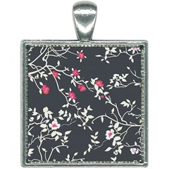 Black And White Floral Pattern Background Square Necklace