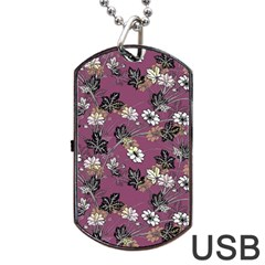 Beautiful Floral Pattern Background Dog Tag Usb Flash (two Sides)