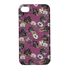 Beautiful Floral Pattern Background Apple Iphone 4/4s Hardshell Case With Stand