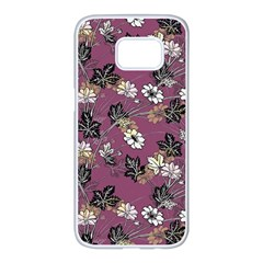 Beautiful Floral Pattern Background Samsung Galaxy S7 Edge White Seamless Case by Samandel