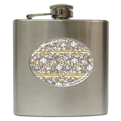 Floral Pattern Background Hip Flask (6 Oz) by Samandel