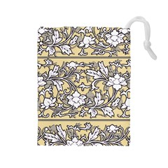 Floral Pattern Background Drawstring Pouch (large)