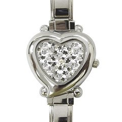 Black And White Floral Pattern Background Heart Italian Charm Watch by Samandel