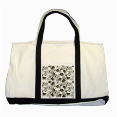Black And White Floral Pattern Background Two Tone Tote Bag