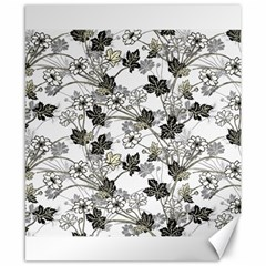 Black And White Floral Pattern Background Canvas 8  X 10