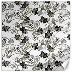 Black And White Floral Pattern Background Canvas 20  X 20