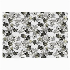 Black And White Floral Pattern Background Large Glasses Cloth