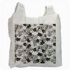 Black And White Floral Pattern Background Recycle Bag (two Side)
