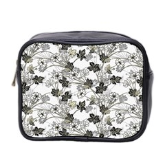 Black And White Floral Pattern Background Mini Toiletries Bag (two Sides)