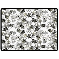 Black And White Floral Pattern Background Double Sided Fleece Blanket (large)