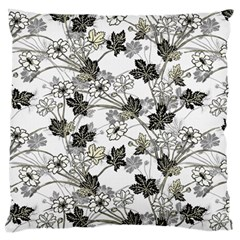 Black And White Floral Pattern Background Large Flano Cushion Case (two Sides) by Samandel