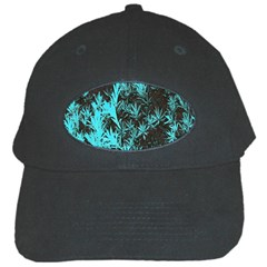 Blue Etched Background Black Cap