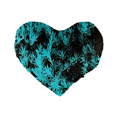 Blue Etched Background Standard 16  Premium Flano Heart Shape Cushions