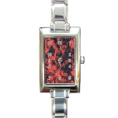 Orange Etched Background Rectangle Italian Charm Watch