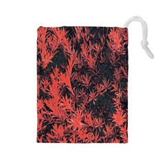 Orange Etched Background Drawstring Pouch (large)