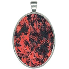Orange Etched Background Oval Necklace