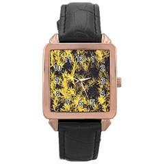 Artistic Yellow Background Rose Gold Leather Watch