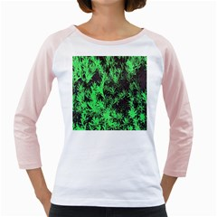 Green Etched Background Girly Raglan
