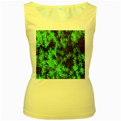 Green Etched Background Women s Yellow Tank Top