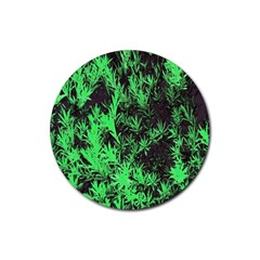 Green Etched Background Rubber Round Coaster (4 Pack)