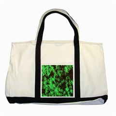 Green Etched Background Two Tone Tote Bag
