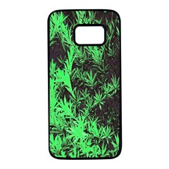 Green Etched Background Samsung Galaxy S7 Black Seamless Case