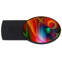 Background Color Colorful Rings Usb Flash Drive Oval (2 Gb)