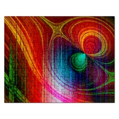 Background Color Colorful Rings Rectangular Jigsaw Puzzl by Samandel