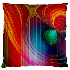 Background Color Colorful Rings Large Cushion Case (two Sides) by Samandel