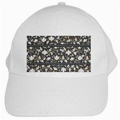 Floral Pattern Background White Cap by Samandel