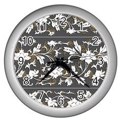 Floral Pattern Background Wall Clock (silver)