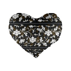 Floral Pattern Background Standard 16  Premium Flano Heart Shape Cushions by Samandel