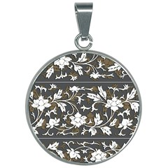 Floral Pattern Background 30mm Round Necklace