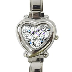 Floral Pattern Background Heart Italian Charm Watch by Samandel
