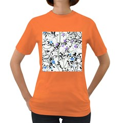 Floral Pattern Background Women s Dark T Shirt