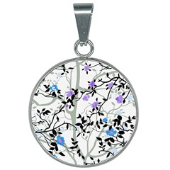 Floral Pattern Background 25mm Round Necklace by Samandel