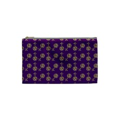 Victorian Crosses Purple Cosmetic Bag (small) by snowwhitegirl