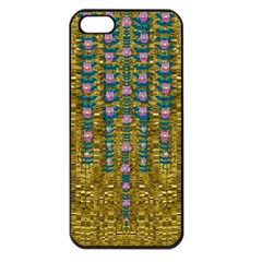 Gold Jungle And Paradise Liana Flowers Apple Iphone 5 Seamless Case (black) by pepitasart