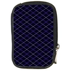 Blue Plaid  Compact Camera Leather Case by dressshop