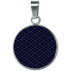 Blue Plaid  20mm Round Necklace by dressshop