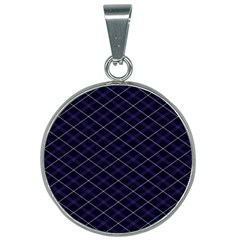 Blue Plaid  25mm Round Necklace by dressshop