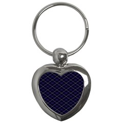 Blue Plaid  Key Chains (heart)  by dressshop