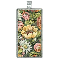 Retro Vintage Floral Rectangle Necklace by dressshop