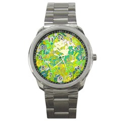 Floral 1 Abstract Sport Metal Watch