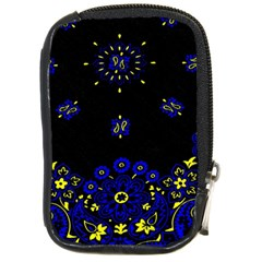 Blue Yellow Bandana Compact Camera Leather Case by dressshop