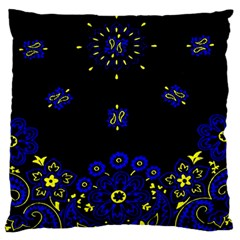 Blue Yellow Bandana Large Flano Cushion Case (two Sides) by dressshop