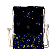 Blue Yellow Bandana Drawstring Bag (small) by dressshop
